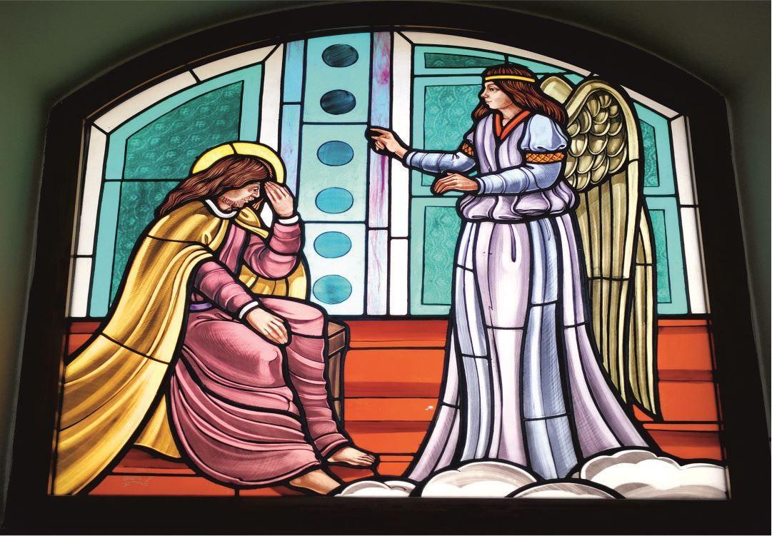 Vetrate Santuario Sant'Anna Caserta - L'Angelo invita San Gioacchino ad unirsi alla Sposa