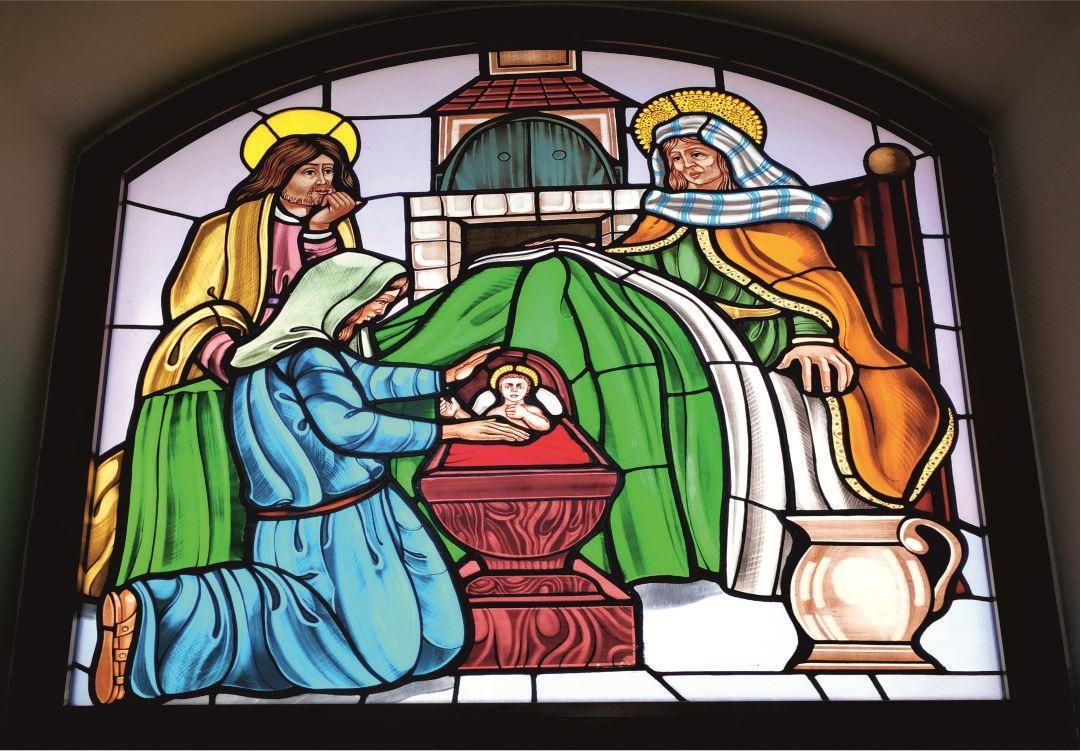 Vetrate Santuario Sant'Anna Caserta - Gioiosa natività di Maria