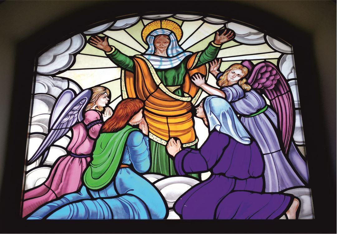 Vetrate Santuario Sant'Anna Caserta - Glorificazione di Sant'Anna