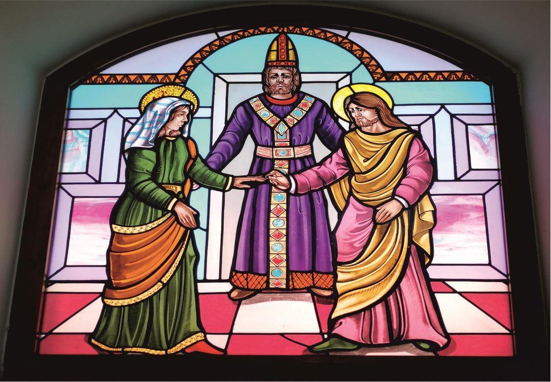 Vetrate Santuario Sant'Anna Caserta - Matrimonio di S. Gioacchino con S. Anna