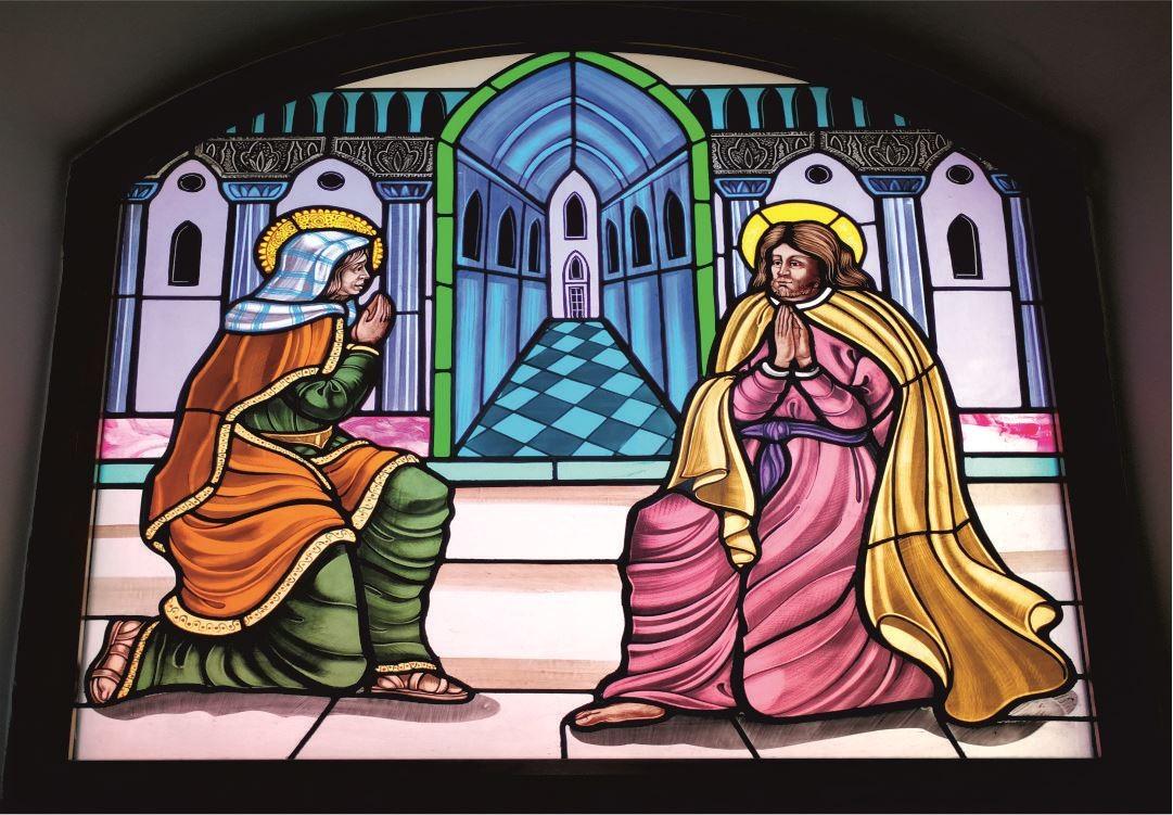 Vetrate Santuario Sant'Anna Caserta - San Gioacchino e Sant'Anna offrono sacrifici