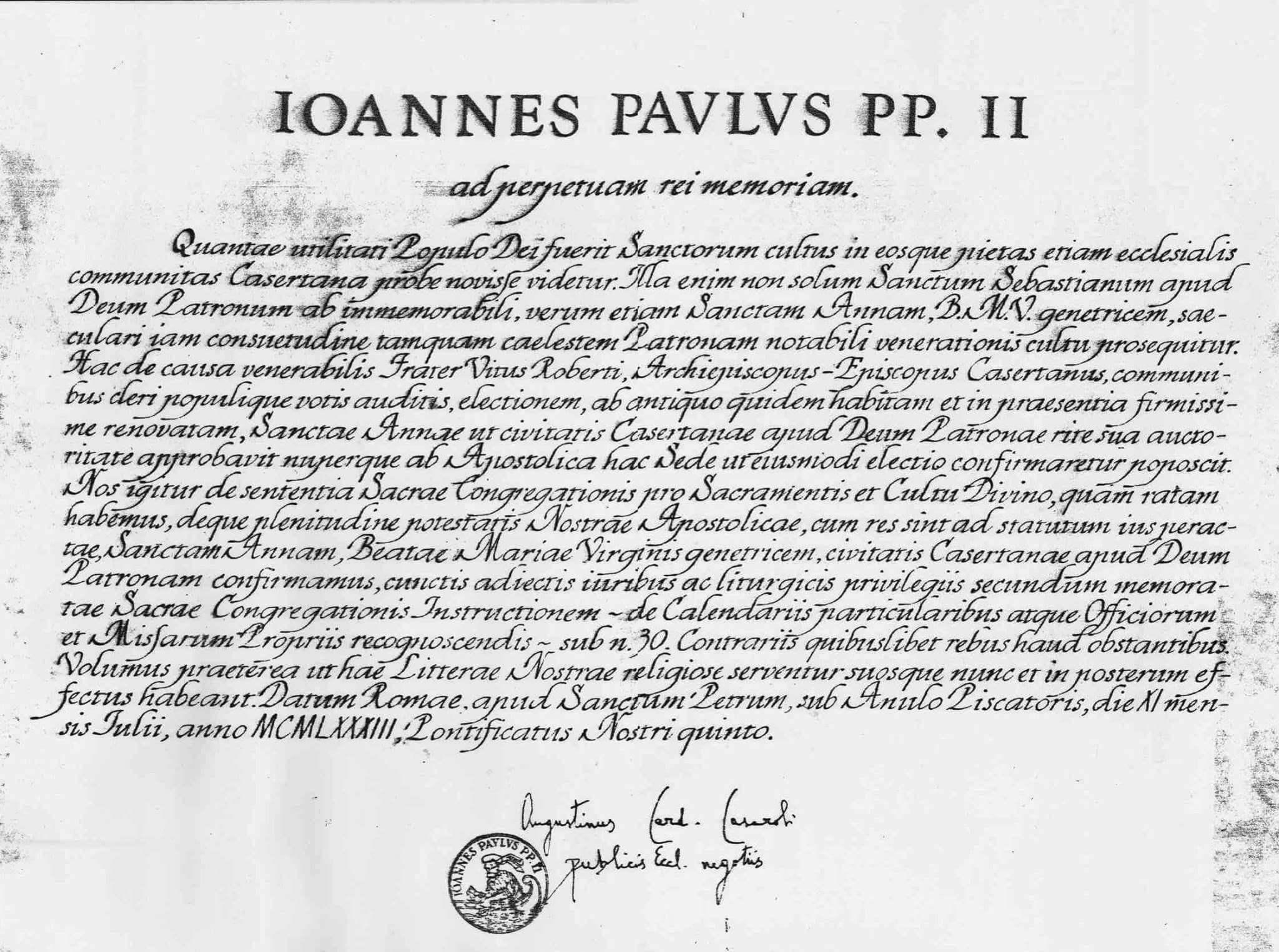 Decreto Pontificio Patrocinio Sant'Anna - Caserta - 19830711