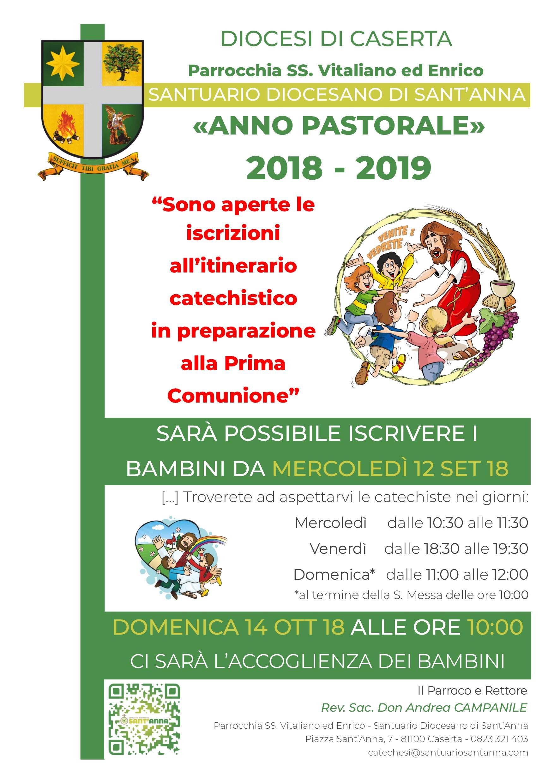 Parrocchia SS. Vitaliano ed Enrico - Locandina Catechismo 2018-2019 - Santuario Diocesano di Sant'Anna di Caserta