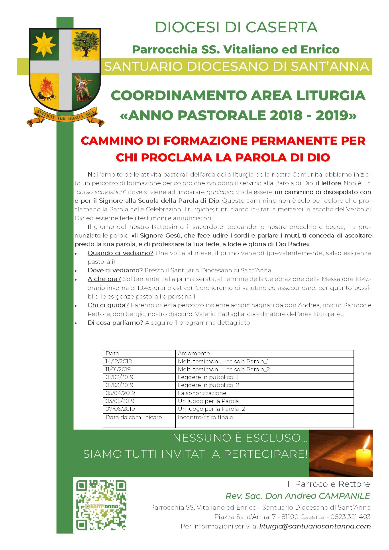 Locandina Incontro Lettori anno 2018-2019 Santuario Diocesano Sant'Anna - Caserta