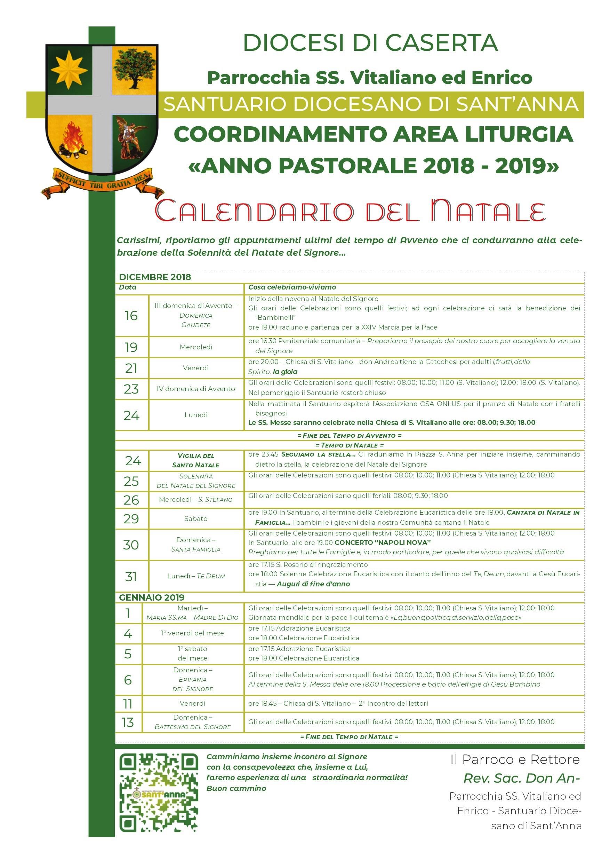 Calendario Liturgico Maranatha.Calendario Liturgico Natale 2018 Santuario Sant Anna Caserta